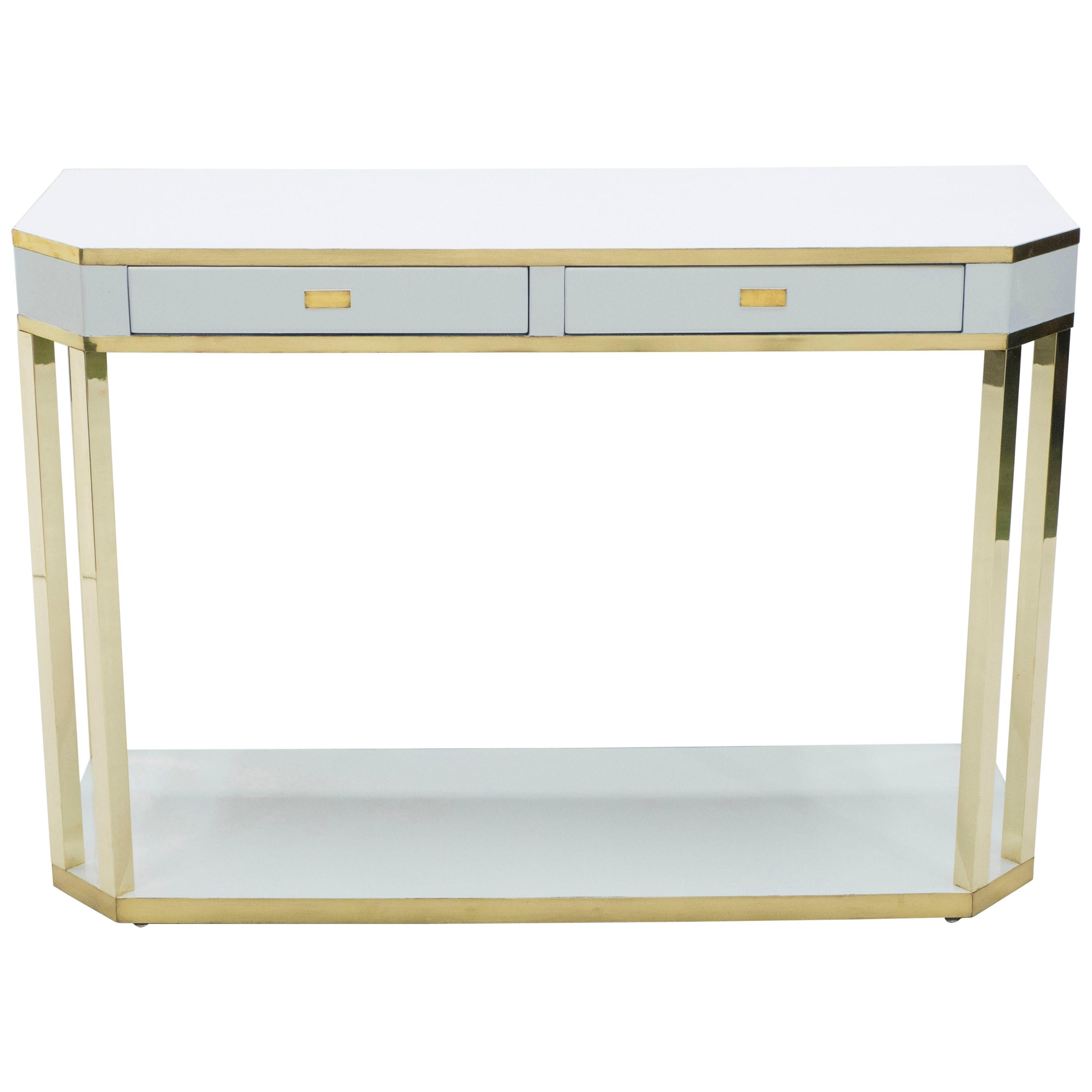 J.C. Mahey White Lacquer and Brass Console, 1970s