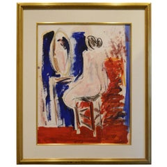 JC Salomoy Expressionist Figure at Dressing Table Painting in Red, Blue & Black