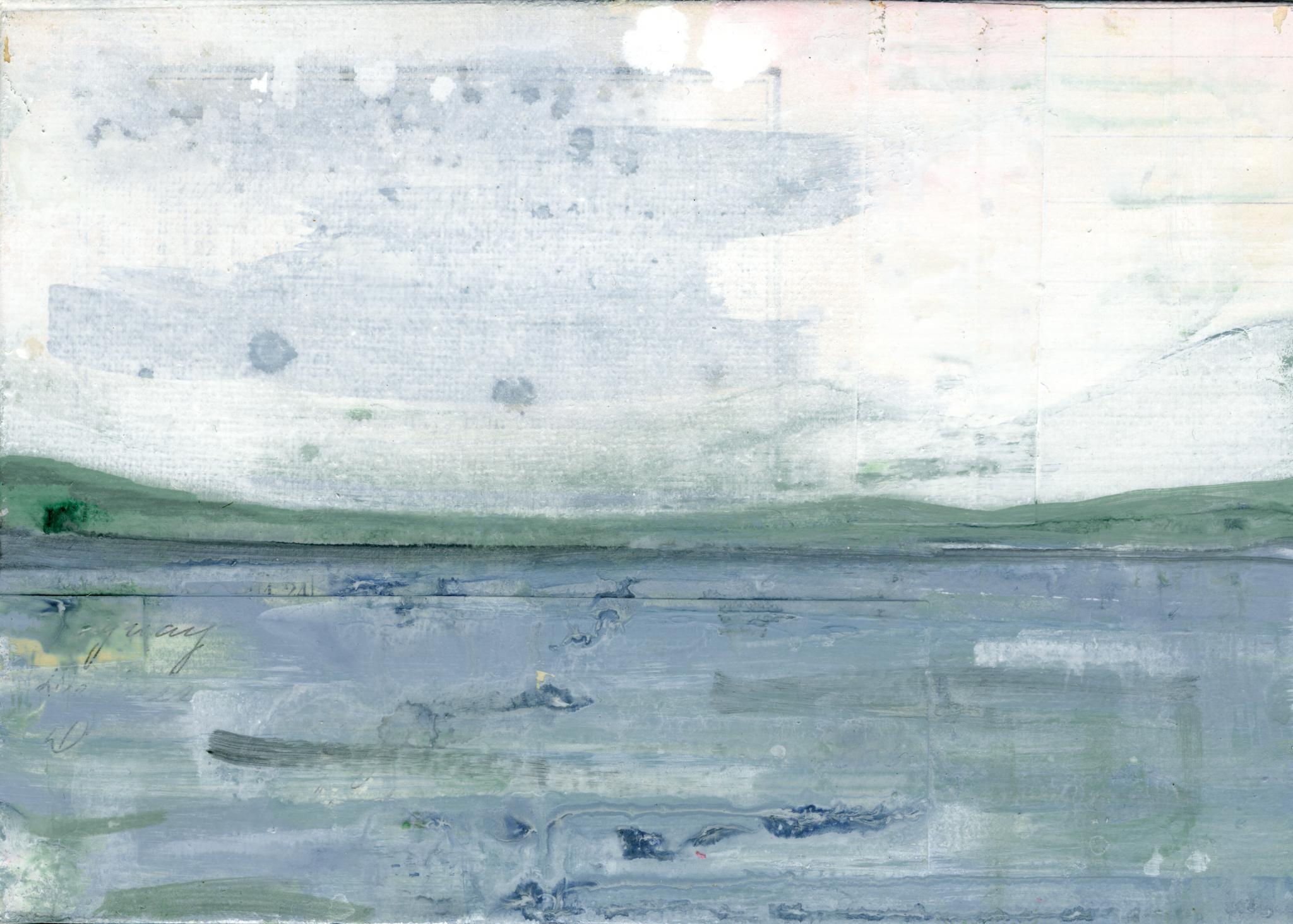 """Lakeside I,"" Mixed Media Painting"