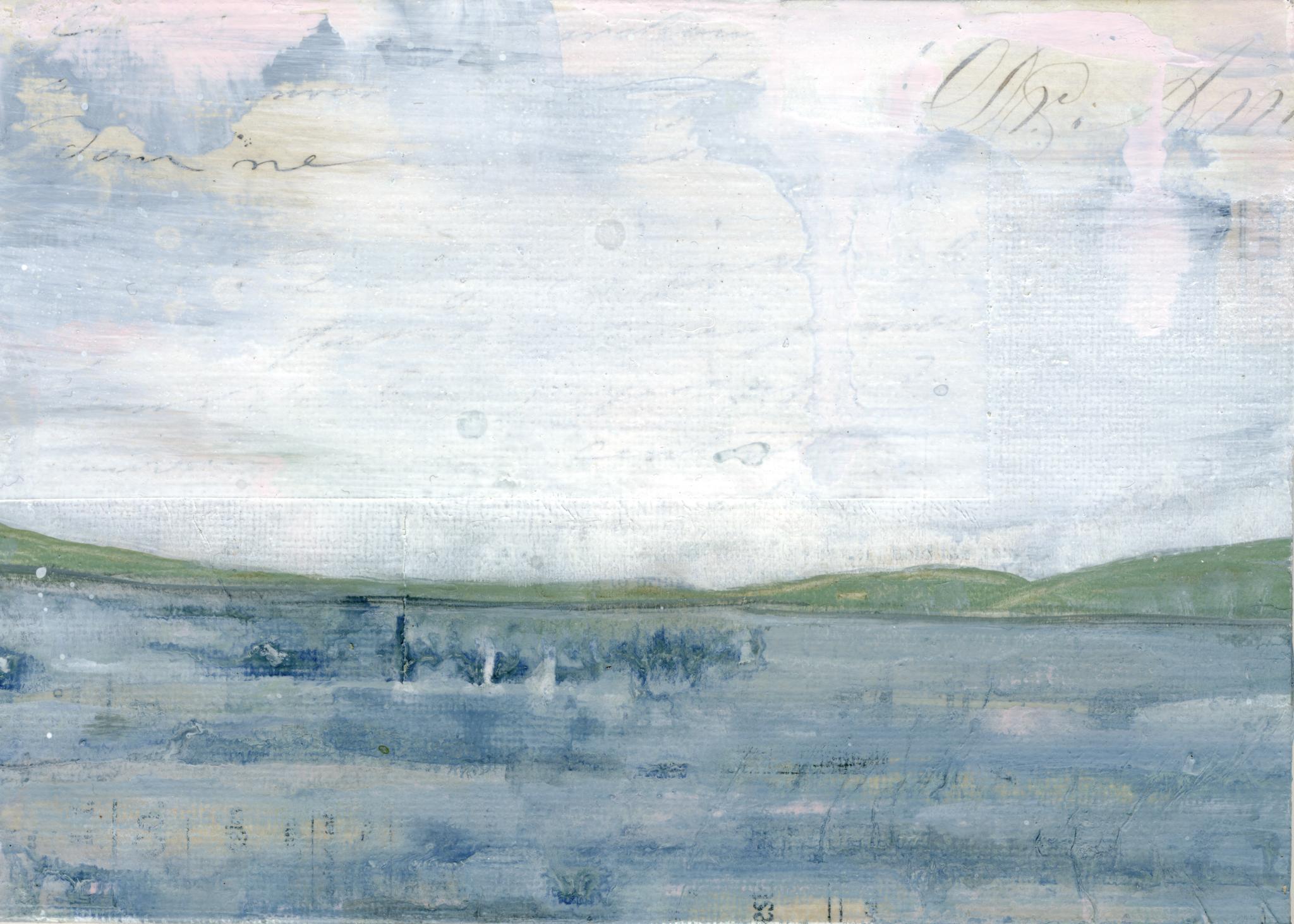 """Lakeside II,"" Mixed Media Painting"