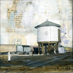 """Rail Water Tower"" Mixed Media Painting"