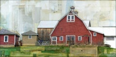"""Red Barn, Red Eggs"" Mixed Media Painting"