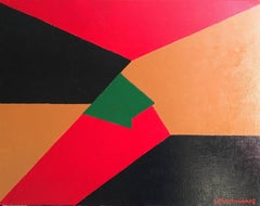 Large French Abstract Red Black and Brown, signed