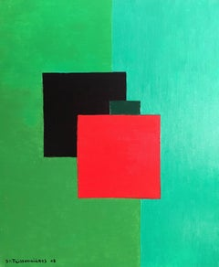Large French Cubist , Bright Green Colour, Signed