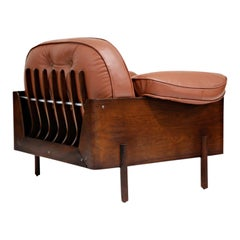 J.D. Moveis e Decoracoes Brazilian Rosewood and Leather Lounge Chair, 1960s