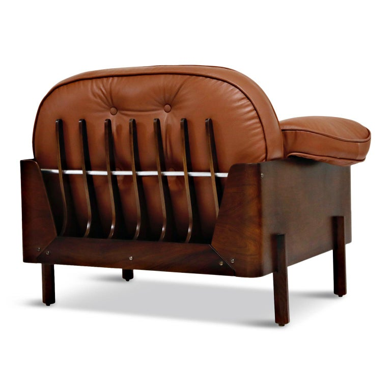 J.D. Moveis e Decoracoes Brazilian Rosewood and Leather Lounge Chairs, 1960s For Sale 5