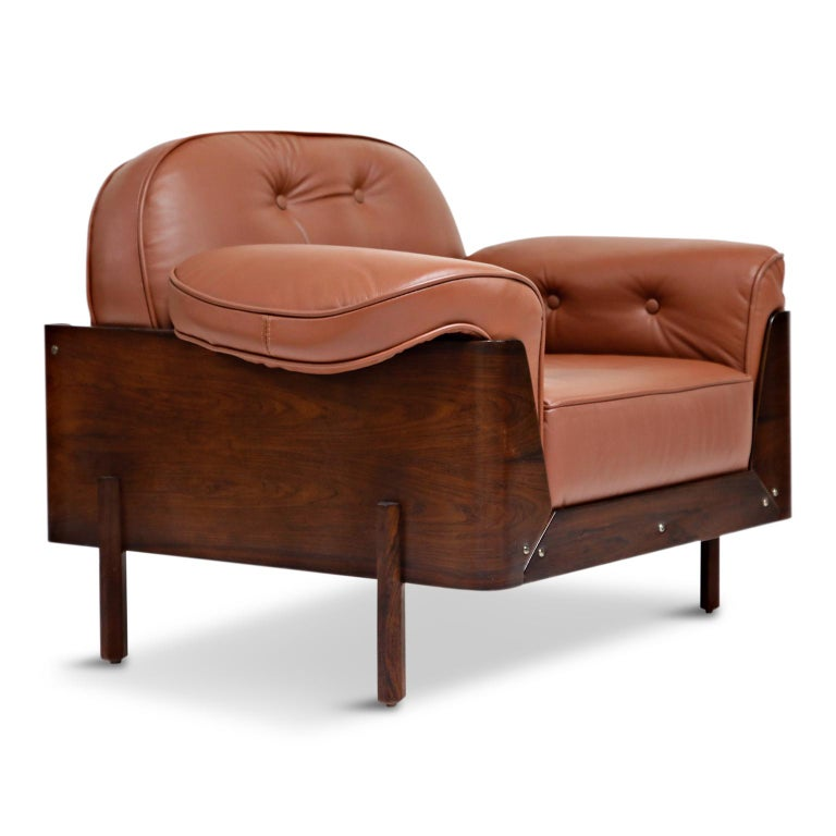 J.D. Moveis e Decoracoes Brazilian Rosewood and Leather Lounge Chairs, 1960s For Sale 2