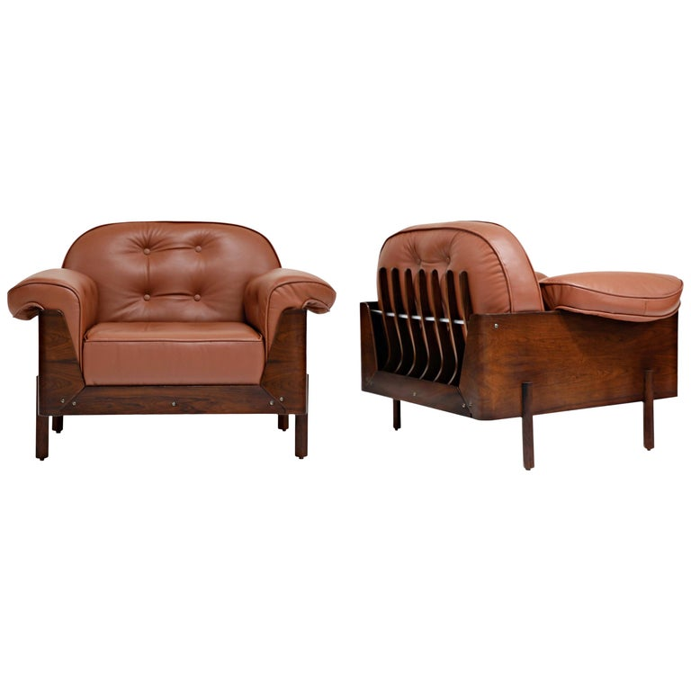 J.D. Moveis e Decoracoes Brazilian Rosewood and Leather Lounge Chairs, 1960s For Sale