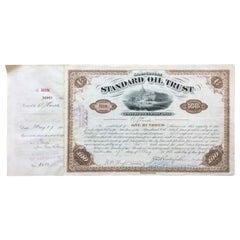 JD Rockefeller Signed Antique Standard Oil Stock Certificate, 1888