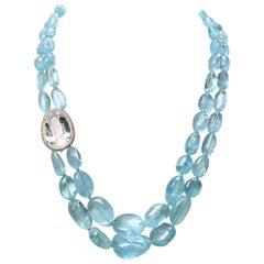 JdJ Couture Aquamarine Bead, White Tourmaline and Diamond Necklace in White Gold