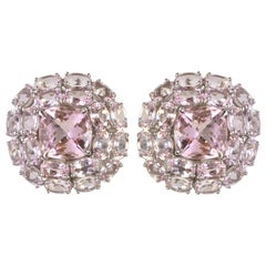 JdJ Couture Cushion and Oval Cut Morganite Earrings in White Gold