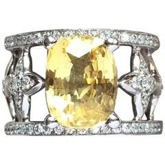 "JdJ Couture Cushion Cut Yellow Sapphire & Diamond ""Sevilla"" Motif Ring in w Gold"