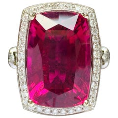 """JdJ Couture Cushion Shaped """" Scarlett"""" Rubellite and Diamond Ring in White Gold"""