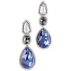 JDJ Couture Grey and Black Diamond and Blue Sapphire Rose Cut Earrings in Plat