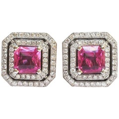 """JdJ Couture Pink Sapphire and Diamond """"Frame"""" Earrings in 18 Karat White Gold"""