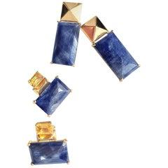 "JdJ ""G"" Series Rose Cut Blue Sapphire, Emerald Cut Yellow Sapphire Earrings"