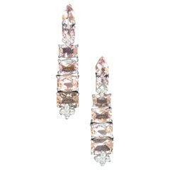 "JdJ Jewels ""Arabella"" Morganite and Diamond Earrings in White Gold"