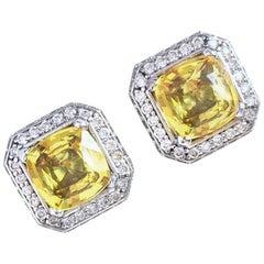 """JdJ Jewels Radiant Cut Yellow Sapphire & Diamond """"Frame"""" Earrings in 18k W Gold"""