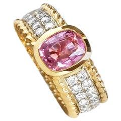 "JdJ Studio Oval Pink Sapphire & Pave Diamond ""Braid"" Ring, White and Yellow Gold"