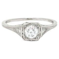 J.E. Caldwell 0.55 Carat Diamond Platinum Engagement Ring, Circa 1920
