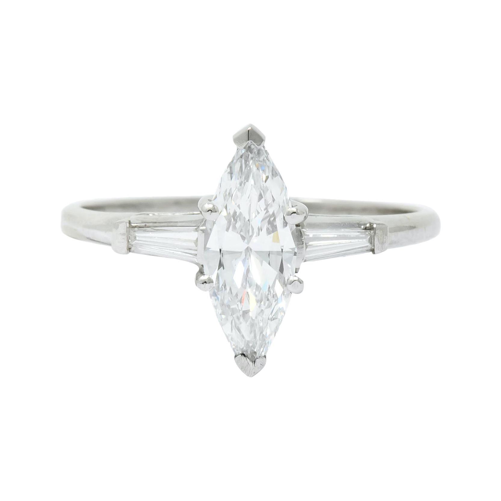J.E. Caldwell 1.03 Carat Marquise Diamond Platinum Engagement Ring GIA