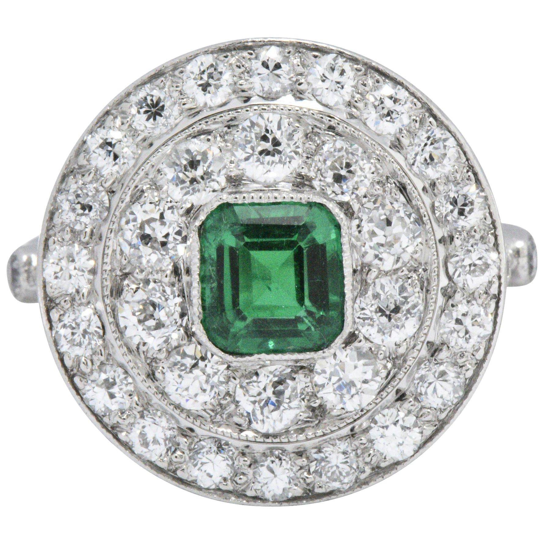 J.E. Caldwell Art Deco2.05 CTW Emerald Diamond Platinum Dinner Ring