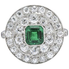 J.E. Caldwell 2.05 CTW Art Deco Emerald Diamond & Platinum Cocktail Ring