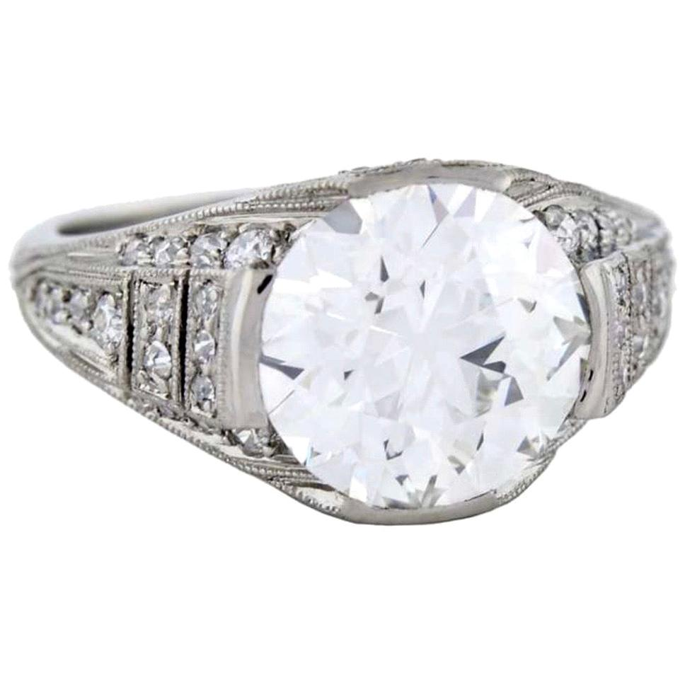J.E. Caldwell 4.02 Carat Diamond Platinum Engagement Ring