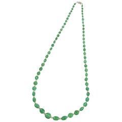 J.E. Caldwell Art Deco Emerald Pearl Diamond and Platinum Necklace