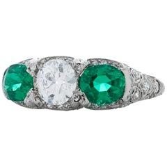 J.E. Caldwell Art Deco Platinum 1.37 Carat Emerald + 0.84 Carat OEC Diamond Ring