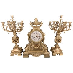 J.E. Caldwell Bronze Louis XVI Style Three-Piece Garniture Clock Set, Palatial