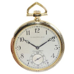 J.E. Caldwell by I.W.C. 18Kt Yellow Gold Open Faced Art Deco Pocket Watch, 1930s