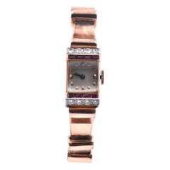 J.E. Caldwell & Co. 14 Karat Rose Gold Ruby and Diamond Watch