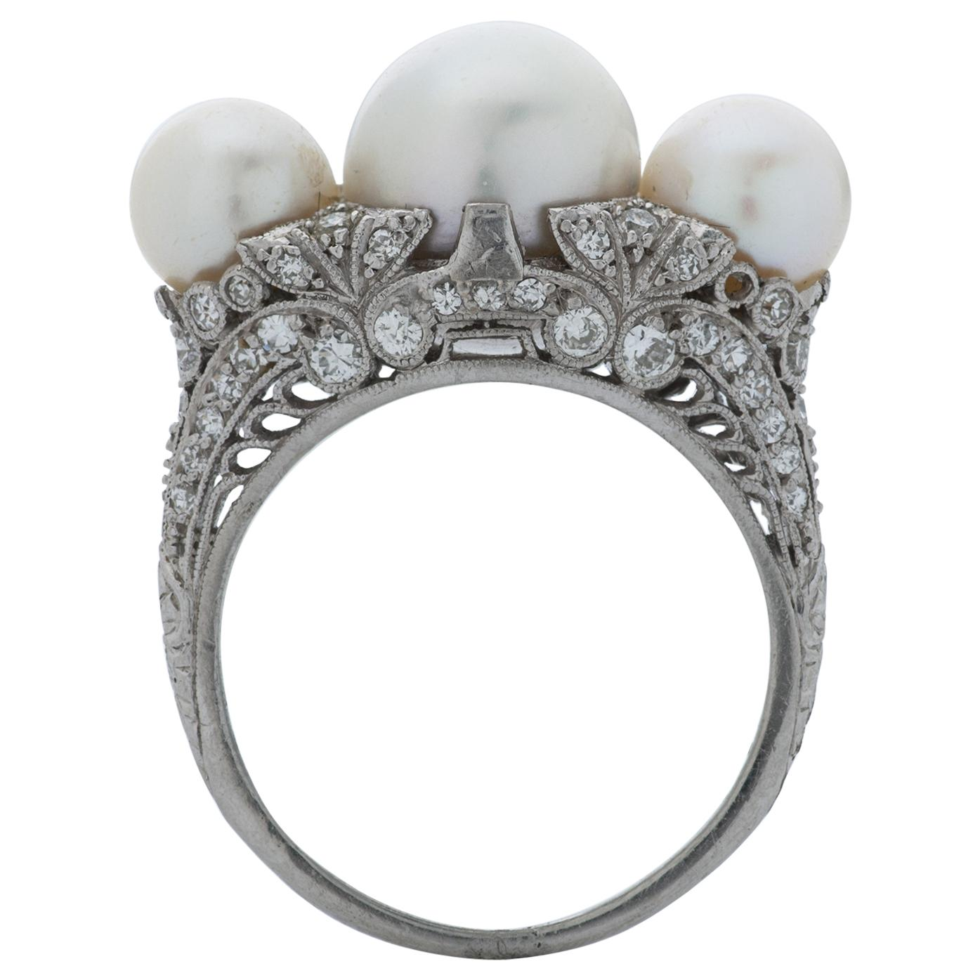 J.E. Caldwell & Co. Art Deco Round Cultured Pearl and Diamond Ring in Platinum