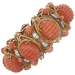 J.E. Caldwell & Co. Carved Coral and 2 Carat Diamond Bracelet in 18 Karat Gold