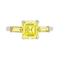 J.E. Caldwell & Co Platinum, Fancy Vivid Yellow Diamond and Diamond Ring