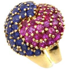 J.E. Caldwell & Co Retro Ruby Sapphire Puzzle Ring
