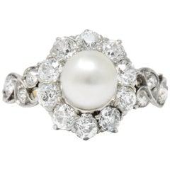 J.E. Caldwell Edwardian 1.50 CTW Natural Pearl Diamond Platinum-Topped 14kt Gold