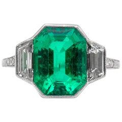 J.E. Caldwell Emerald Cut Emerald and Diamond Ring
