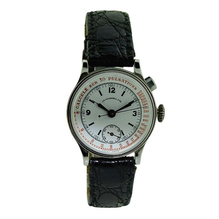 J.E. Caldwell Nickel Finished Doctor's Chronograph Manual Wristwatch In Excellent Condition For Sale In Venice, CA