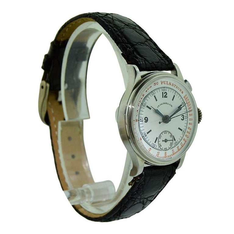 Women's or Men's J.E. Caldwell Nickel Finished Doctor's Chronograph Manual Wristwatch For Sale