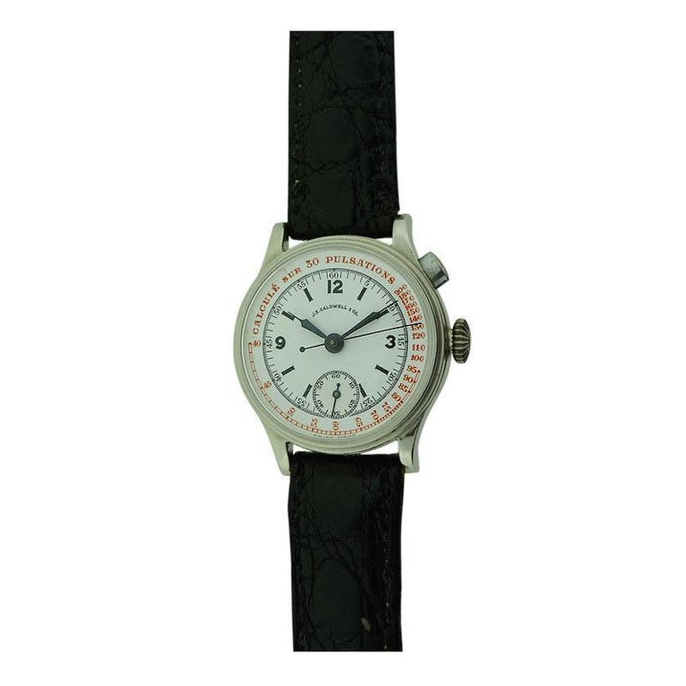 J.E. Caldwell Nickel Finished Doctor's Chronograph Manual Wristwatch For Sale 1
