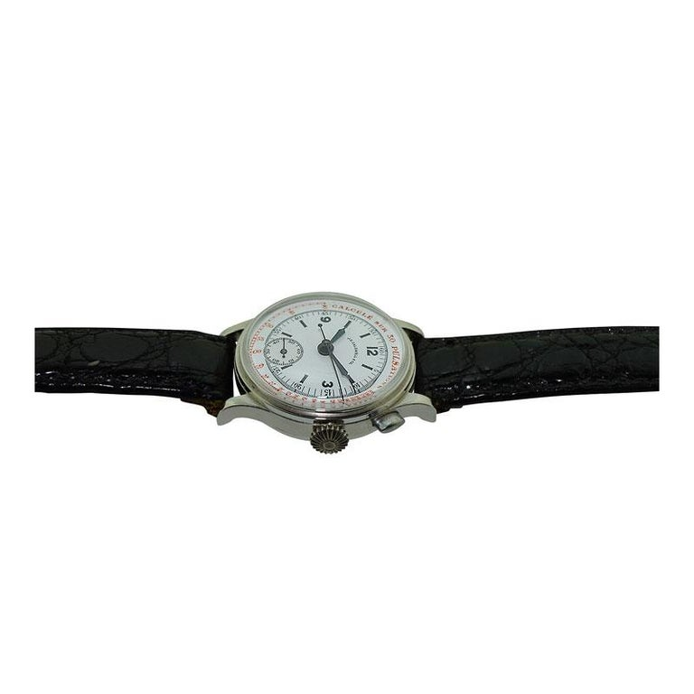 J.E. Caldwell Nickel Finished Doctor's Chronograph Manual Wristwatch For Sale 2