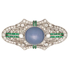 J.E Caldwell Platinum Art Deco Brooch with Diamonds and Star Sapphire