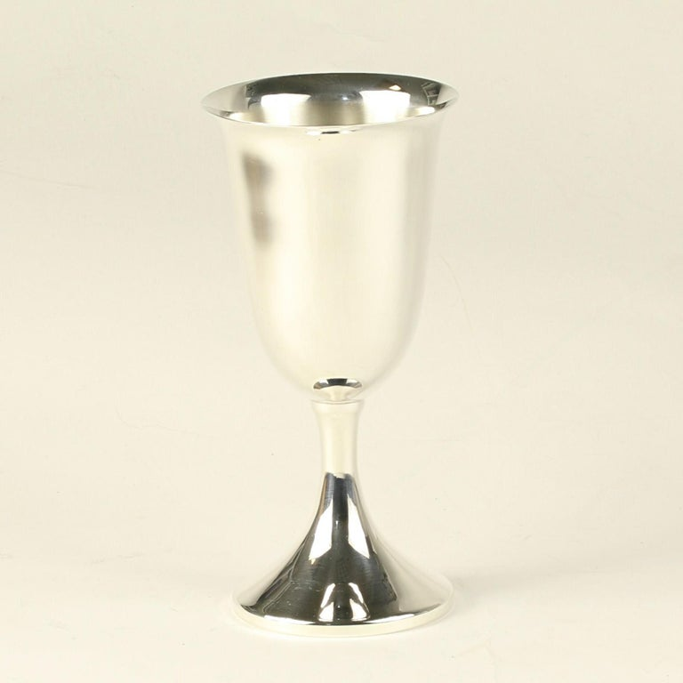 Item: Set of 12 Wine / Water Goblets Brand: J.E. Caldwell Monogram: No Stamps: J.E. Caldwell, Sterling Metal Content: Sterling Silver Measurements: 6 11/16