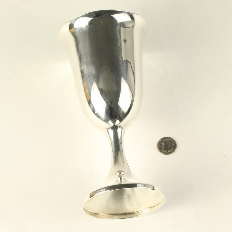 Women's or Men's J.E. Caldwell Set of 12 Silver Wine Water Goblets Sterling Hollowware For Sale