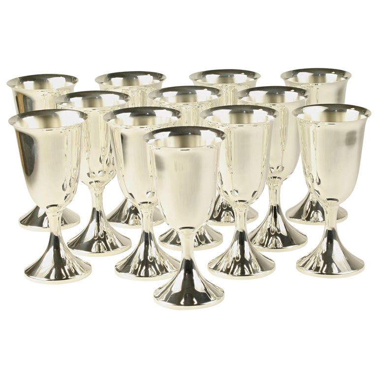 J.E. Caldwell Set of 12 Silver Wine Water Goblets Sterling Hollowware For Sale