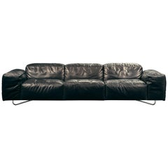 Je T'attends 3-Seat Sofa in Black Aniline Leather and Polished Steel