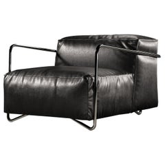 JE T'attends Armchair Black Leather