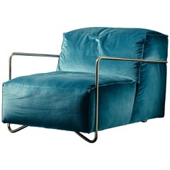 Je T'Attends Armchair in Blue Velvet and Polished Brass